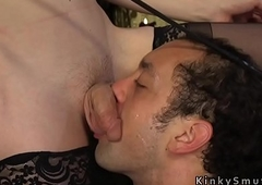 Handcuffed slave jerking off on tranny