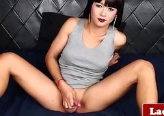 Classy ladyboy wanks until that babe squirts cum