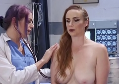 Cocksucked TS doctor cleansup pussy creampie