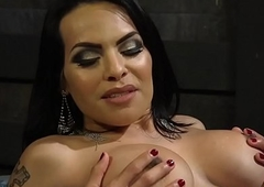 Busty latina ts gives facial to submissive
