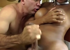 Anally group-fucked ebony tgirl tastes warm cum