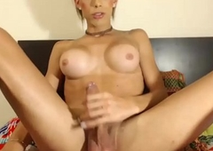 Sexy Shemale Babe Plays with her Rock Eternal Cock on Cam