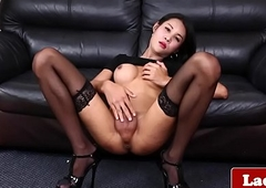 Classy sheboy jerks off and shows her irritant