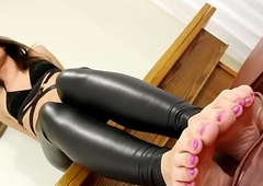 Foot loving debutante plays close to her hands