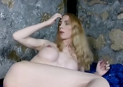 Bigtitted russian tgirl tugging her hard dick