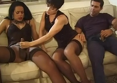 He, she and chum around with annoy well endowed shemale! # 2