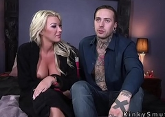 Inked lady's man got trannys hard dick in the ass