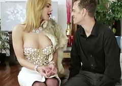 Luscious blondie shemale fucks censure man in his anus