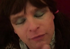 AlexisBane UK British cocksucking TV slut sucks cock and gets huge jizz facial cumshot