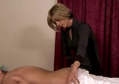 Trans homoerotic masseuse creams on mature pussy