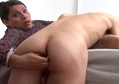 Cocksucking tranny gets her flannel sucked also