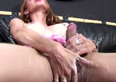 Latina tbabe lotions up her unending shecock for closeup comport oneself