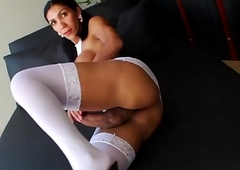 Cute brunette Sabrina jerking their way chunky pole the right way