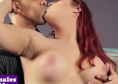 Curvy interacial sheboy rides hard cock