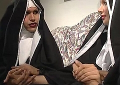 Two nuns are vivifying a sister, but she don'_t know they'_re two horny shemales!