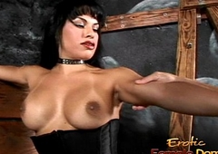 Busty portable radio hottie Foxxy makes a stud lick the brush latex boots