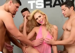 Sexy blonde latin chick tranny gangbang fucked by some chaps
