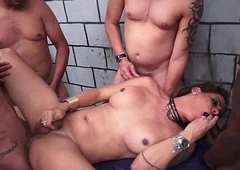 Busty Latina Shemale Array Gangbang