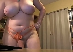 Busty Hung Tgirl Masturbating on Webcam