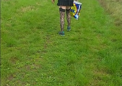 crossdressing sissy walking in public in all directions receives seen together with runs away