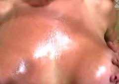 Latina tranny plays nigh her Cyclopean boobs close to the bathroom