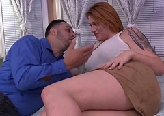 Busty shemale Aspen Brooks gets doggystyled by the brush guy on bounds