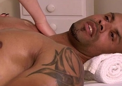 Shemale Vixen Godess gives head to and barebacked away from masseur