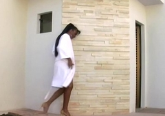 Dark skinned tranny strokes puffed up nipples increased by dismal shecock