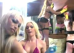 Three t-girls well forth spunk on their girlfriends chesty ass