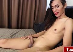 Ladyboy goddess solitarily bedroom masturbation