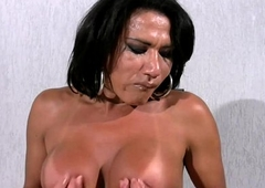 Mature tranny shows extremely big tits plus jerks monstercock