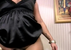 Ebony transsexual plays with her massive black shecock