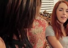 Pierced lesbo t-girl pleasured by redhead pet