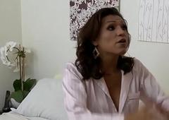 Latina ladyboy doggystyling her lover