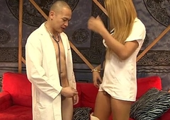 Oriental tranny nurse Roxxy gives holder by a long chalk everywhere cock treatment