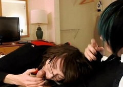 Tgirl with an increment of Femboy New Zealand pub blowjob ~