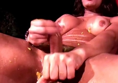 Taking tgirl squeezes juice and tax of cum out of shecock
