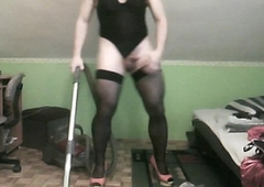 hoovering in X filigree leotard
