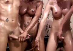 Four shemales enjoy oil knead and anal copulation orgy