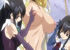 Captive anime shemale with bigboobs handjob her bigcock by several maids