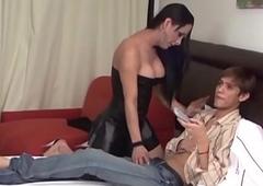 Lady-boy giving facial cumshot