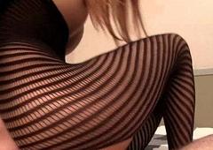 Tight Striped Gimp costume Creampie