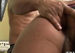Posh shemale uses male cock