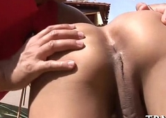 Breasty t-girl babe receives wild