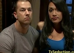 Tranny fucks ass and ejaculates on dick be expeditious for guy
