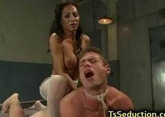 Receiver fucks plighted tramp with dildo