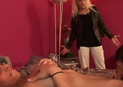 Shemale group blowjob of the threesome of sultry sluts