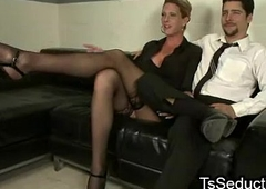 Tranny and guy engulfing to many times other