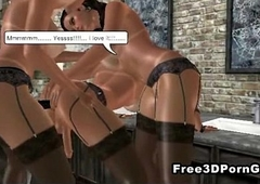 Two sexy 3D cartoon hotties drilled wits a hot shemale