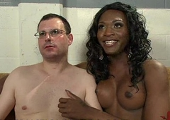 Black tranny examines and fingeres and fucks aggravation of white guy upon gyno chair